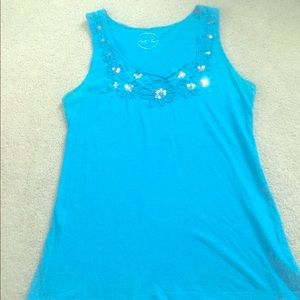 INC TANK WITH FLOWERED AND SEQUINED NECKLINE